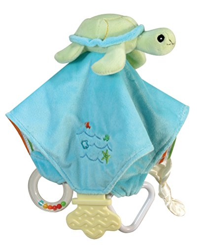 Stephan Baby Go Fish Plush Chewbie Activity Toy and Teething Blankie, Green Sea Turtle - 1