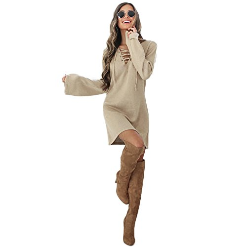"""Donna Vestito, Reasoncool Fshion femminile fasciatura di modo lungo sexy dal manicotto con scollo a V vestito casuale (S-Busto:34.6"""", Khak)"""