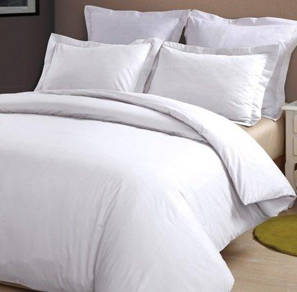 Amazon.com - Cotton Percale 400 Thread Count Duvet Cover Set (Full/Queen, White) -