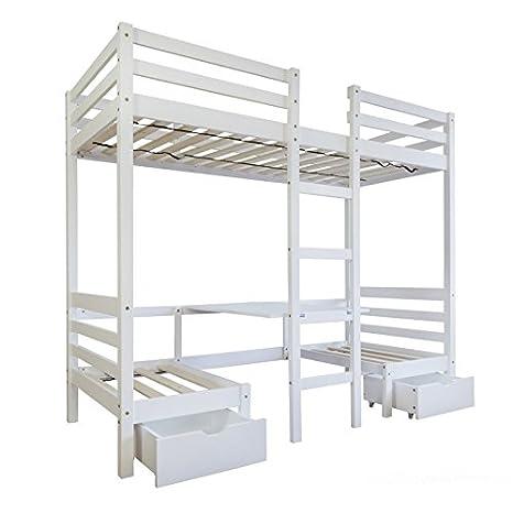Lit mezzanine avec espace bureau 90x200cm avec échelle en bois blanc LIT06088