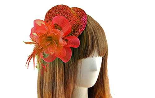 Fascinator Hair Clip Head Hoop Sequin Paillette Glitter Bling Pillbox Hat A Red (Tiny Hat Hair Clip compare prices)