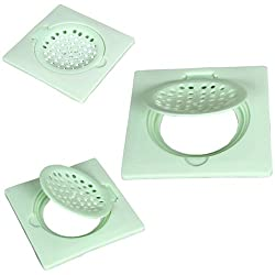 SHRUTI Pvc 6 x 6 Cockroach Jali, Gutter Jali, Drain Water Out Let,Floor Jali with Filter Cup set - Green(1271,1272)