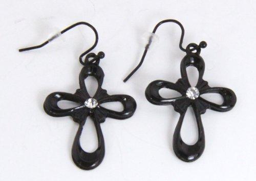 5030022 Cross Christian Religious Earrings Black w/ CZ Diamond