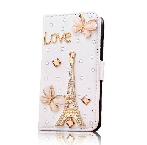 CyberStyle(TM) Hot New Crystal Girl Women Apple Iphone5 Case 5s 5g Case Iphone 5 Case Butterfly Effiel Tower Love Letter Case + Free Clear Screen Protector (Iphone5 Case Crystal compare prices)