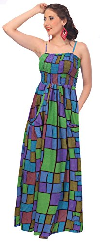 La Leela Likre Allover Square Printed Smocked Partywear Long Tube Dress Purple front-104038
