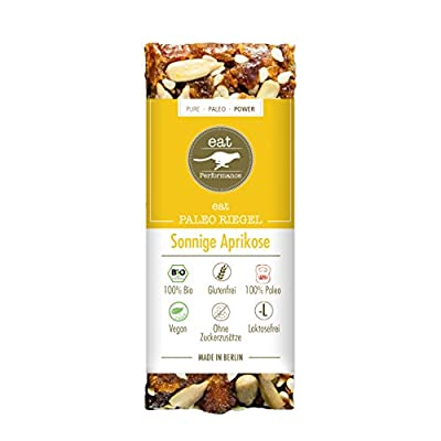 Paleo Bar Sunny Apricot (40g) by eat Performance (organic & vegan cereal bar, no added sugar, gluten free, lactose free, superfood)