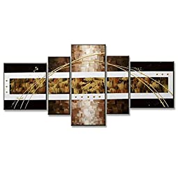 Neron Art - Yellowstone Abstract Oil Paintings Set of 5 Panels on Gallery Wrapped Canvas 60X26 inch (152X66 cm)