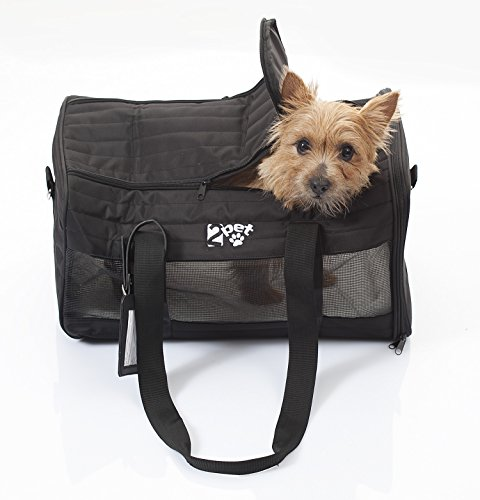 Airline Approved Pet Carrier for Cabin Travel - Soft crate for dogs and cats that fits cabin under seat storage, approved by major airlines, Ebony Black by 2PET