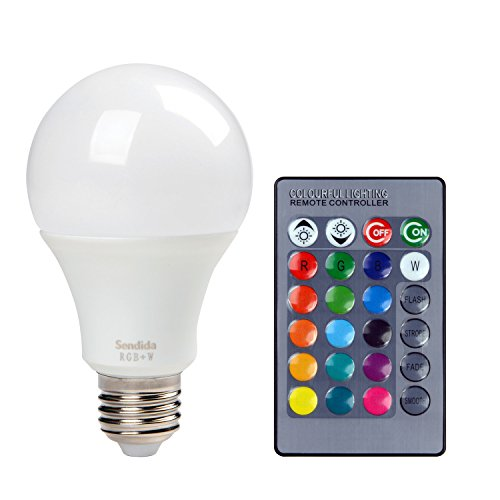 Sendida RGB LED Light Bulb - Color Changing with Remote Control, 4 Modes and Dimmable E27 10W LEDS RGB+W Light Bulb (Color Led Light Blubs compare prices)