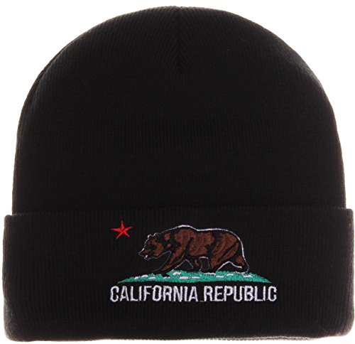 Absolute Accessory California Republic Beanie Knit Hat Cap Various Color (One Size, Black Brown)