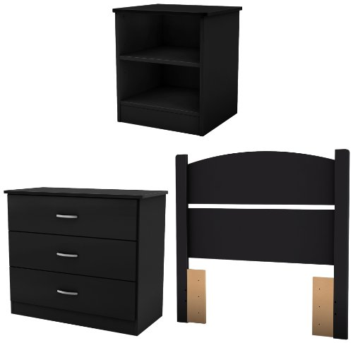 Lowest Prices! South Shore Libra Bedroom Set in a Box, Twin, Pure Black