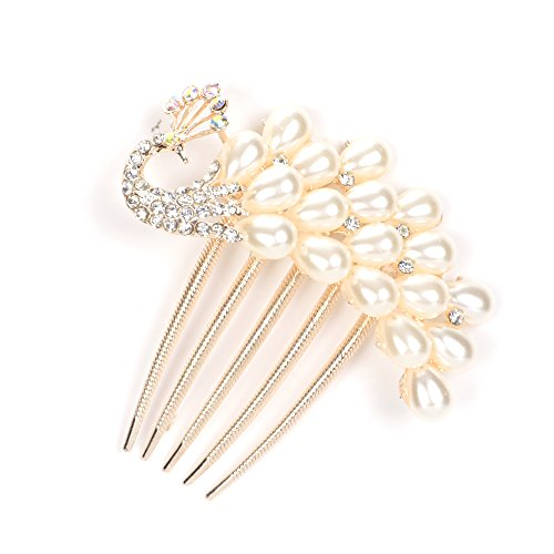 KLOUD City® Charm Fashion Lady Girl Alloy Rhinestone Pearl Barrette Hair Clip Decorative Hair Comb (White Peacock pattern)