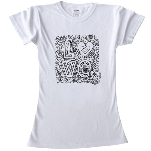 Love Design T-Shirt for colouring in.