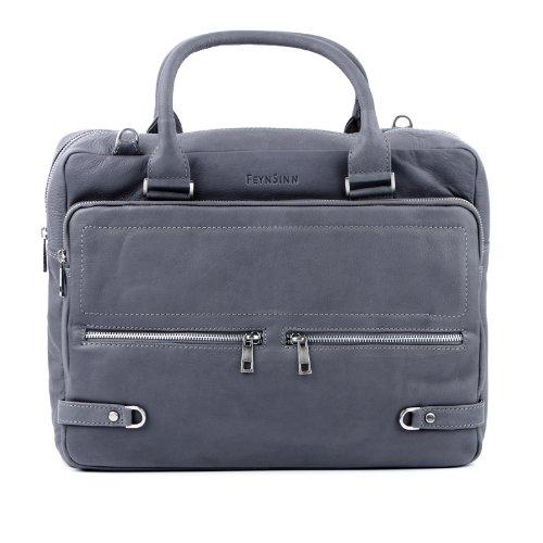 FEYNSINN large laptop messenger bag BETH unisex - crafted briefcase in genuine grey leather (16 x 14 x 5 in.)