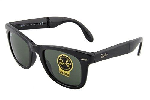 Ray-Ban Unisex RB4105 Folding Wayfarer Sunglasses,Black Frame/G15XLT Lens,50 mm