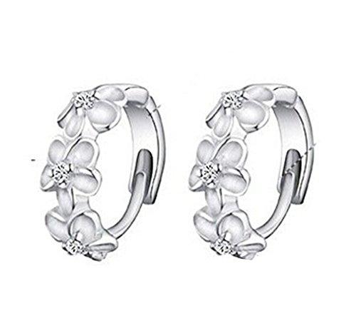 omos-damen-925-sterling-silber-blumen-ohrclip-creole-ohrstecker-hoop-earring