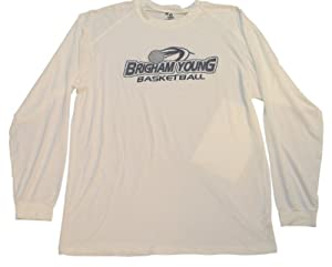 Brigham Young BYU Cougars Badger Mens Long Sleeve Basketball White Shirt (L) by Badger Sport