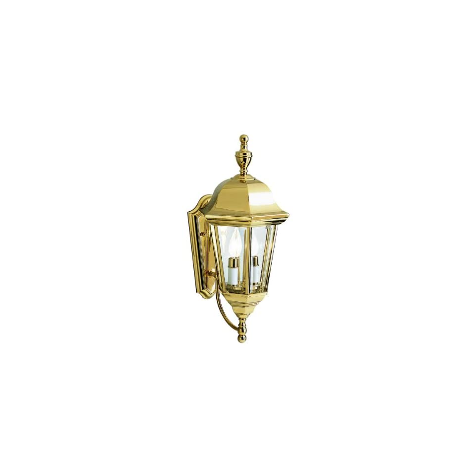 Kichler Lighting 9439PB LifeBrite 2 Light Outdoor Wall Mount Lantern, Polished Brass with Clear Beveled Glass Panels