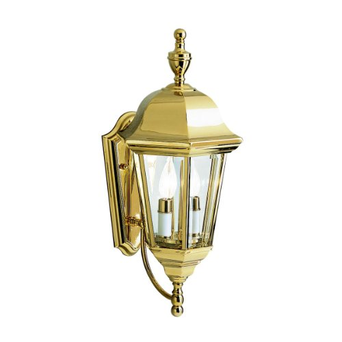 Kichler Lighting 9439PB LifeBrite 2-Light Outdoor Wall Mount Lantern, Polished Brass with Clear Beveled Glass Panels