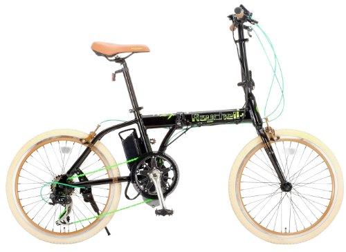 Raychell+(レイチェルプラス) 20インチアルミ製シマノ7段変速電動アシスト折りたたみ自転車[リチウムイオンバッテリー使用・コイルワイヤー錠/前後シリコンLEDライト標準装備] ブラック R+511EA ALOEA