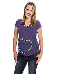 My Tummy T shirt premaman Cocinelle sul cuore viola