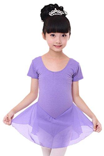 La Vogue-Vestito Bambina di Cotone e Chiffon Abito per Ballo Manica Corta Viola Busto 70cm