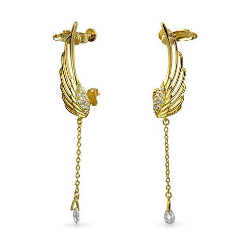 Bling Jewelry CZ Angel Wings Briolette cartilagine Orecchini pendenti dorati
