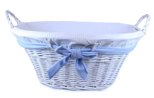 Jumbo White Willow Basket with White Liner and Blue Bow (Lukasian House Storage Basket compare prices)
