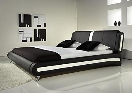 IJ Interiors - MODERN DOUBLE OR KING SIZE LEATHER BED BLACK & WHITE + MEMORY FOAM MATTRESS BEDS Black 5FT Kingsize