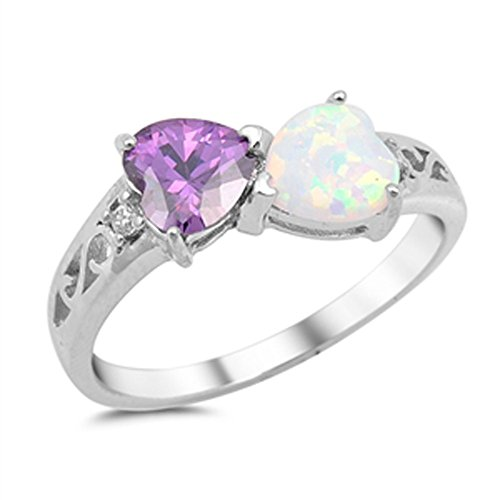 Heart Simulated Amethyst White Simulated Opal Promise Ring .925 Sterling Silver Size 8 (RNG15338-8)