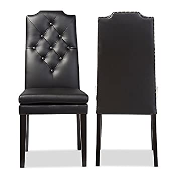 Baxton Studio Dylin Modern & Contemporary Faux Leather Button Tufted Nailheads Trim Dining Chair (Set of 2), Black