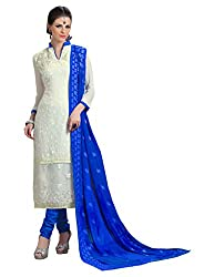 CreationBuddy Off White Embroidered Chiffon Salwar Suit Dress Material Chudidar Party,Festive