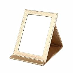 Generic Foldable Pu Square Make Up Mirror L Cream