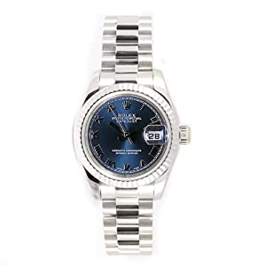 Rolex Ladys President New Style Heavy Band 18k White Gold Model 179179 Fluted Bezel Blue Roman Dial