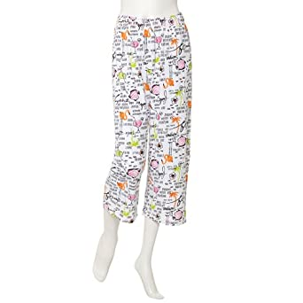 Hue Sleepwear Women's Rum Summer Capri PJ Pants, White, Small