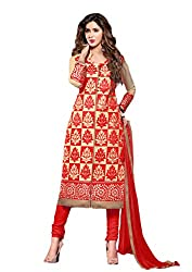 Suchi Fashion Embroidered Red & Beige Cotton Dress Material