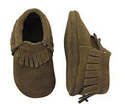 Unique Baby Unisex Quality Suede Moccasins(XS 4.4 Inches) Dark Brown