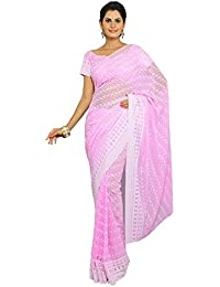 Hakoba All Time Evergreen Pink Saree With Unstitch Blouse Piece As Running Length.