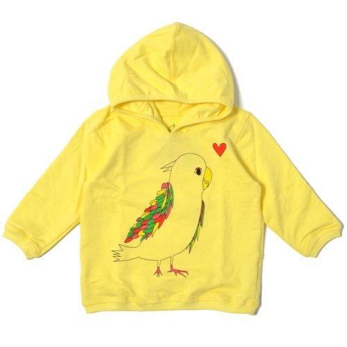 Mademoiselle papillon ラブバード ハートインコ パーカー ( 80 90 100 110 120 130 サイズ ) ベビー服 子供服 ママもおそろいの服 誕生日 プレゼント 兄弟 姉妹ペア にも 【イエローsize:130】