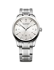 Victorinox Swiss Army Men's 241476 Silver Stainless-Steel Swiss Quartz Watch with Black Dial