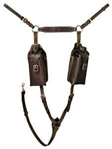 Tough 1 Aussie Leather Breastplate with Pouches, Black