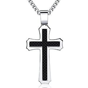 Black Carbon Fiber Stainless Steel Men's Cross on 24 Inch Curb Chain