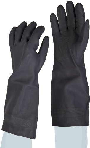 Boardwalk GLX 543L 30-33ml Thick, 15 Inch Large, Black Color Neoprene Flock-Lined Gloves (Case of 12 Pairs)