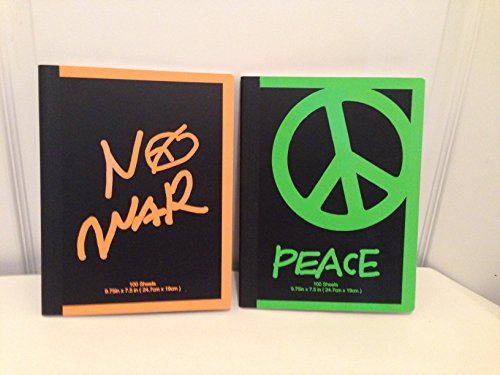 No War, Peace Composition Books - Set of 2 - Orange and Green - 1