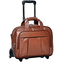 McKlein Damen Brown Leather Detachable-Wheeled Laptop Case