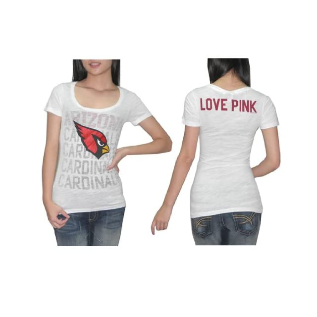 Womens Pink Victorias Secret NFL Arizona Cardinals T Shirt / Tee   White