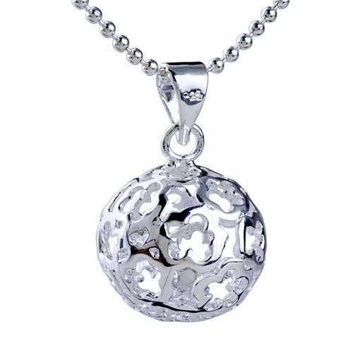 Sterling Silver Flower Hollow Carved Ball Shaped Pendant Symbols Floral