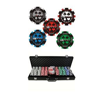 poker set 500pcs Poker Set 13.5G Pro Poker Design Poker Chips in Black Aluminium Poker case
