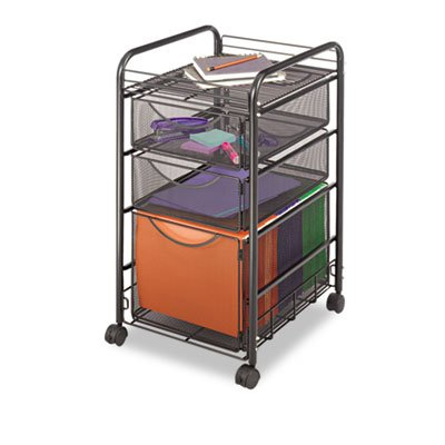 """Safco Products - Onyx™ Mesh File Cart with 1 File Drawer and 2 Small Drawers - 5213BL - Color: Black - Dimensions: 15 3/4""""w x 17""""d x 27""""h - Material: Steel Mesh;Steel (frame) - Get Onyx™ organized! Durable, contemporary mesh creates practical organization. Tubular steel frame cart with letter-size file cube keeps hanging files easily accessible. The two storage drawers hold all your office essentials, from pencils to paperclips - it all fits! Stores conveniently under your desk"""
