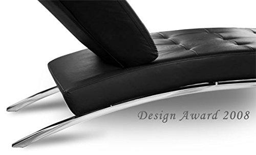 Bauhaus-Daybed-Chaiselongue-Lounge-Sessel-Relax-Liege-Couch-Sofa-Echtleder-Fu-Edelstahl-poliert-Abbildung-in-Leder-Schwarz